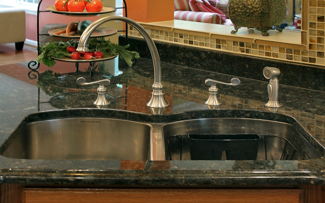 The new double bowl sink and Kohler Revival faucet