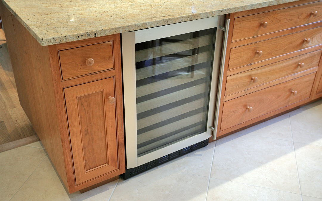 The built-in wine cooler