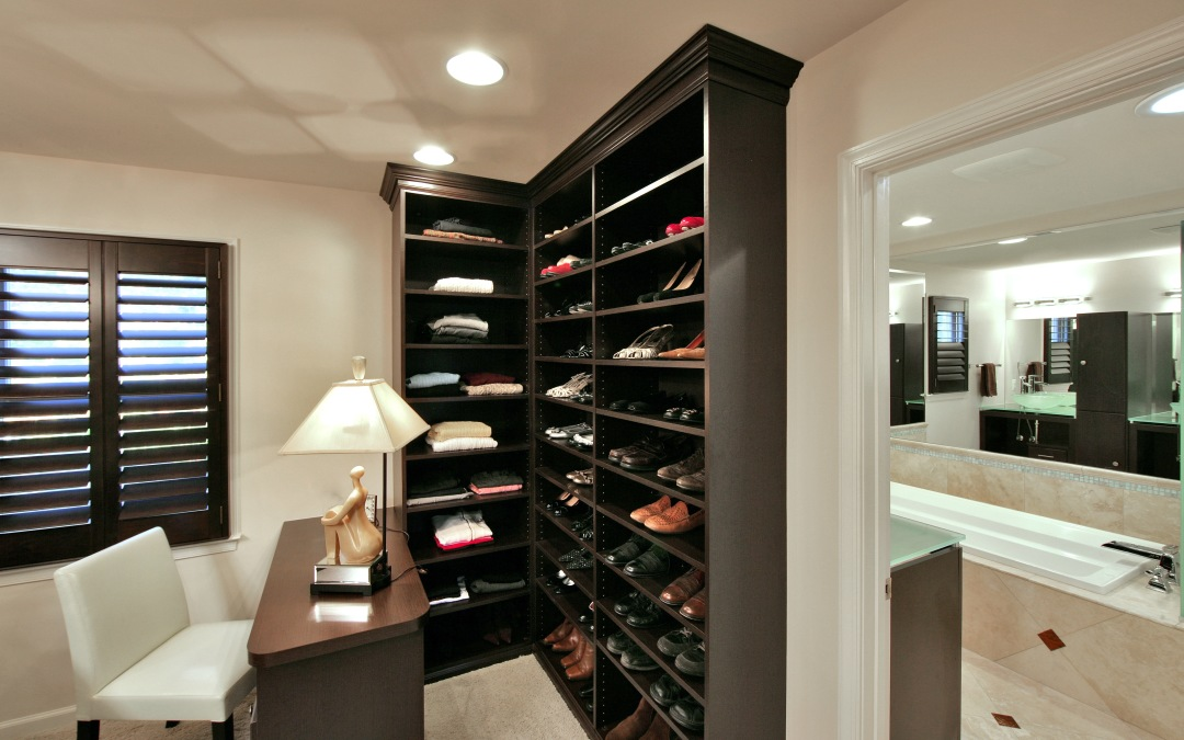 A new vanity table and plenty of shoe storage
