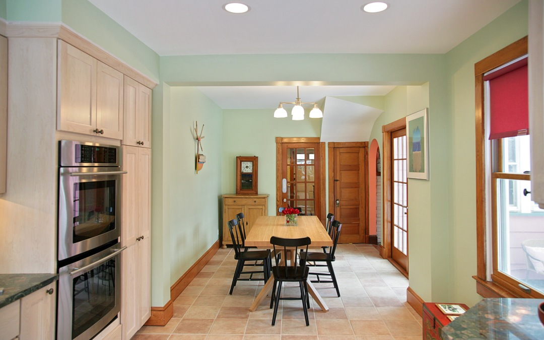 The original kitchen is now a charming breakfast area