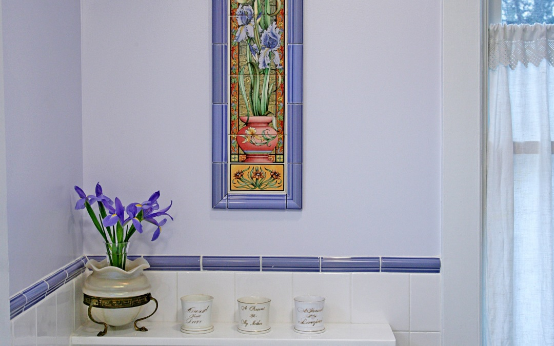 The color scheme revolves around these specialty Iris tiles