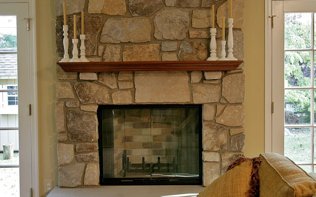 The new stone fireplace in the family room