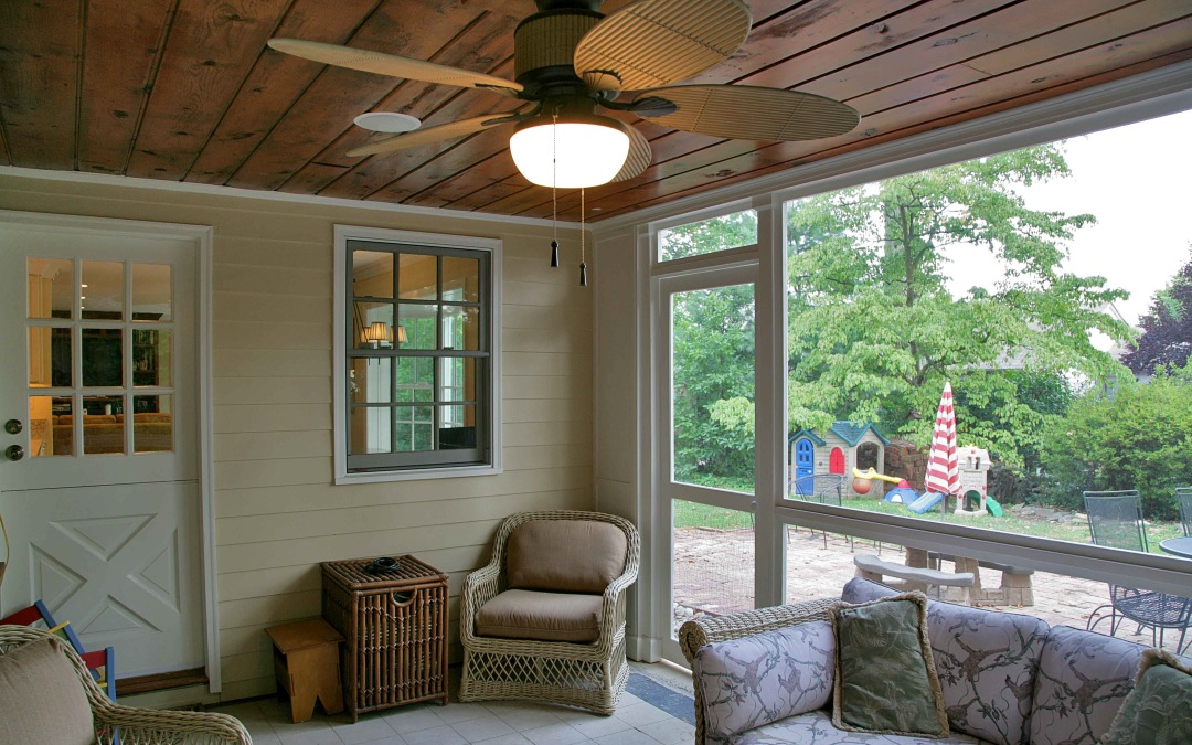 The renovated screened porch